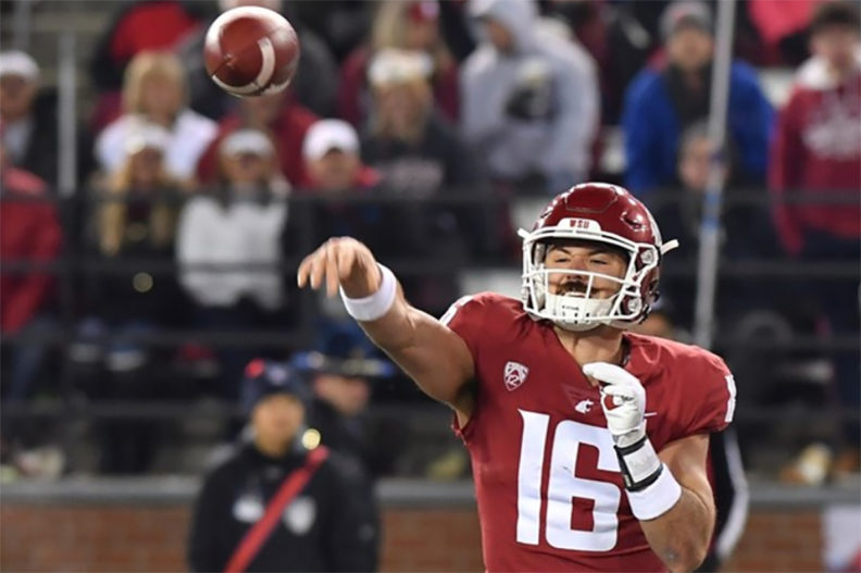 Minshew throwing the football during game against Arizona.