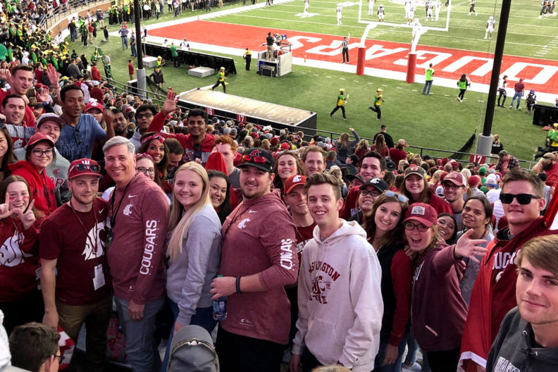 WSU Vancouver students in the stands at Martin Stadium in Pullman.