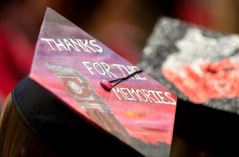 Top of decorated graduation cap that reads 'Thanks for the memories'.