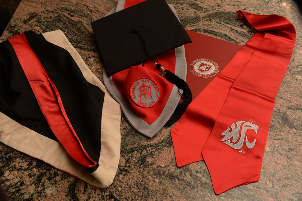 WSU graduation cap, gown and regalia.