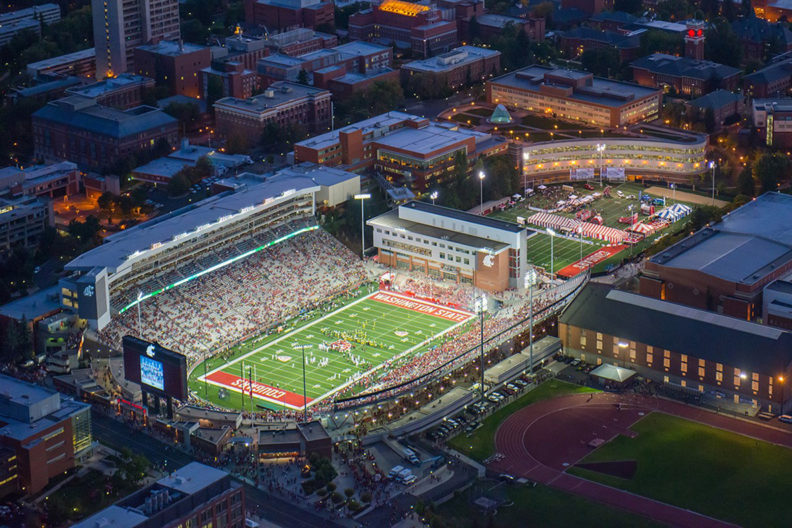Aerial view of Martin Stadium during a WSU football game.