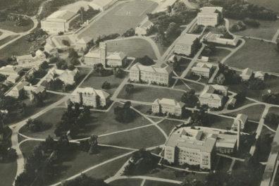 Historic aerial photo of WSU Pullman campus.