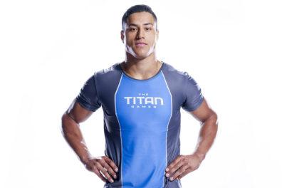 Buckley wearing 'The Titan Games' shirt.