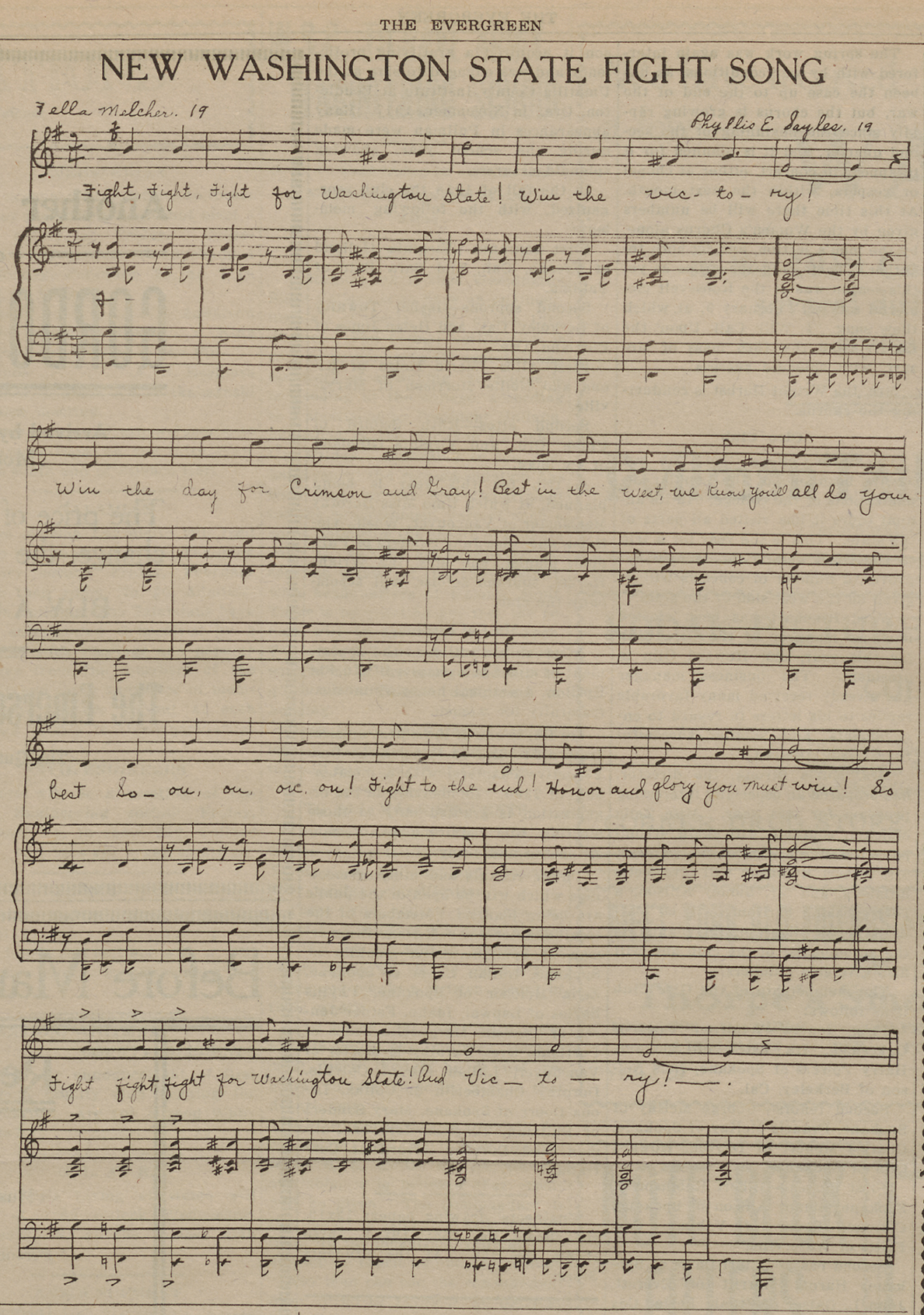 Sheet music of song.