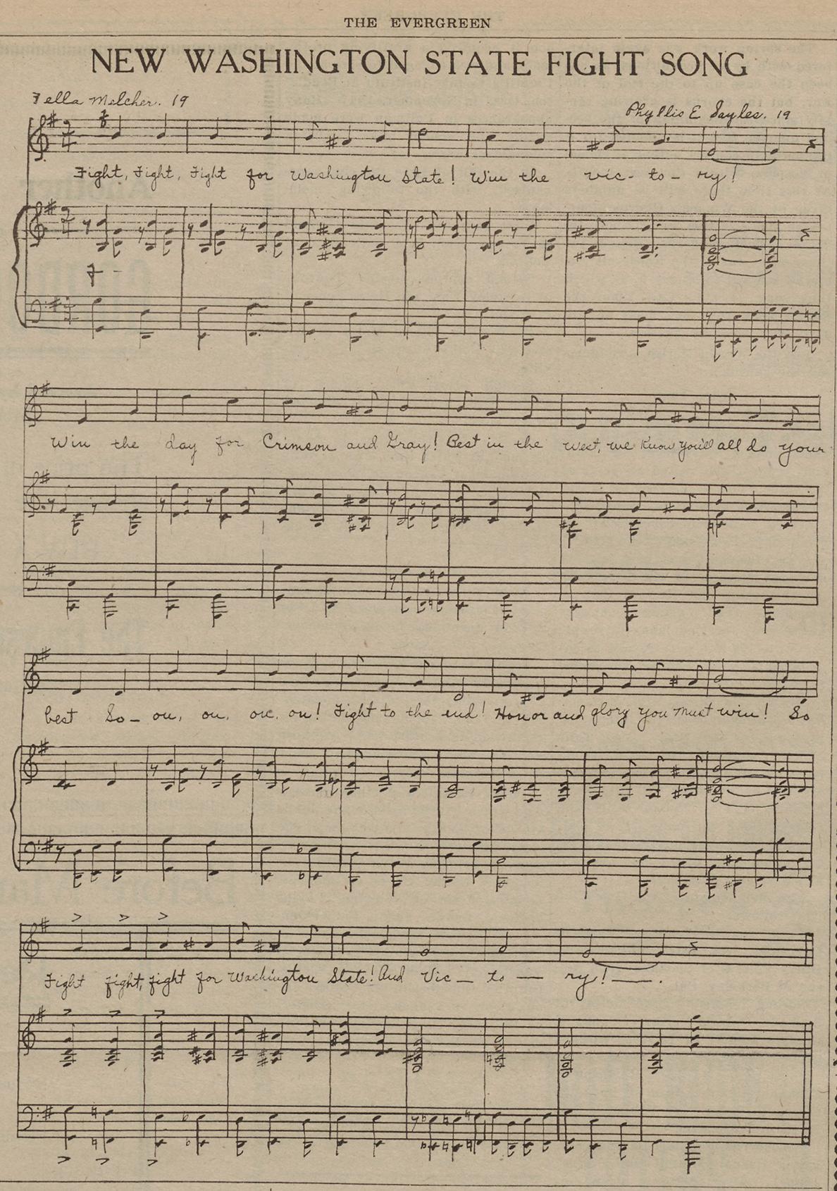 Sheet music of song.