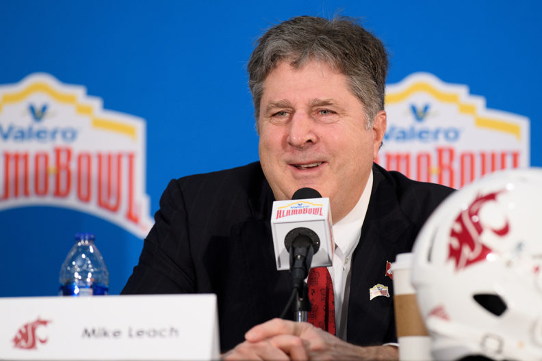 Leach speaking at Alamo Bowl-related press conference.