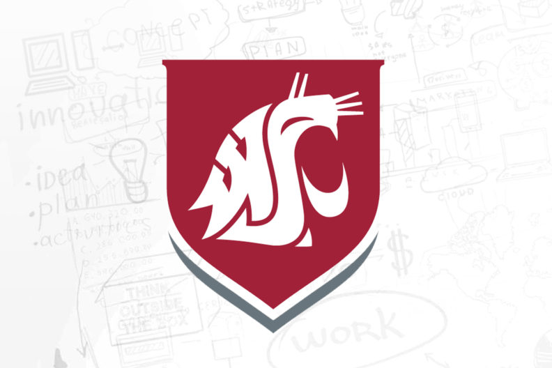 WSU crest in front of several planning notes and sketches.