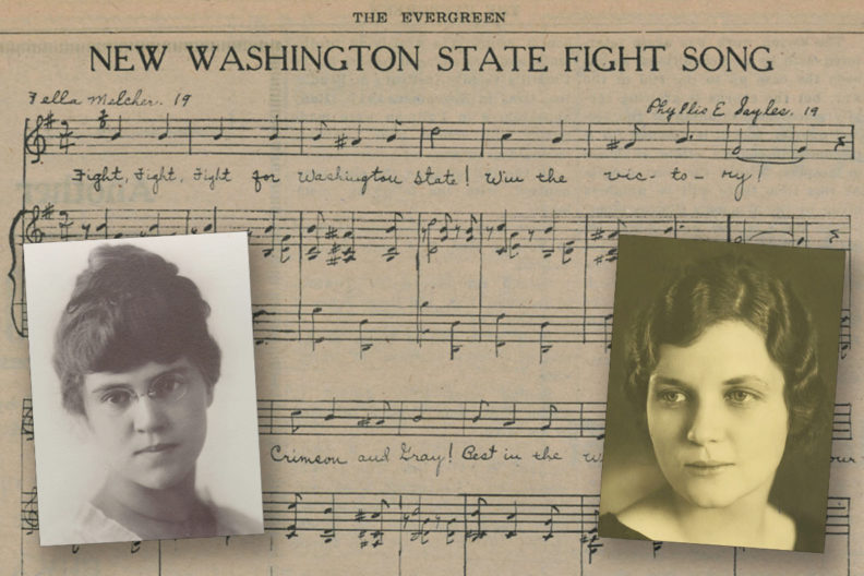 Closeups of Melcher and Sayles and sheet music for the fight song.
