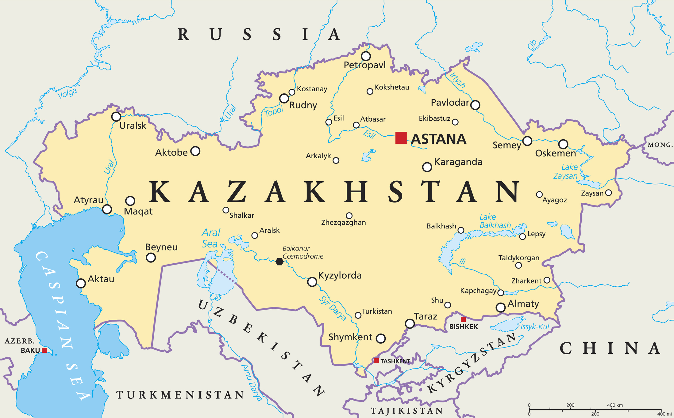 Map of Kazakhstan.
