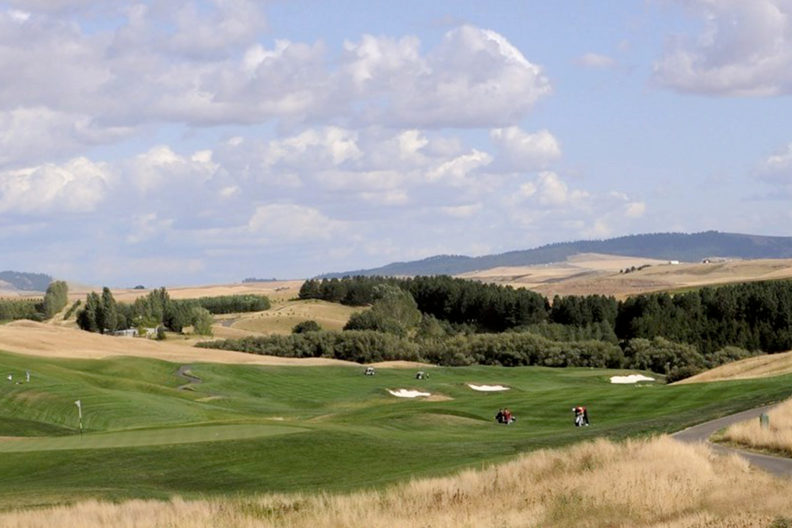 Golfers playing at Palouse Ridge Golf Course.
