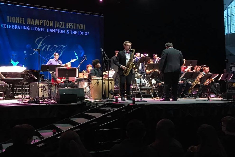Jazz band performing on stage.