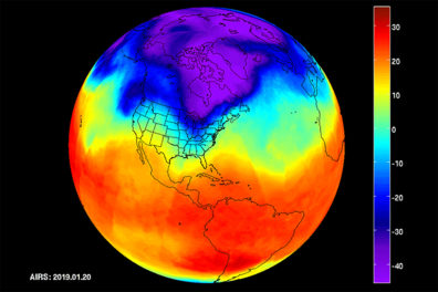 Thermal image of the earth showing polar vortex conditions.