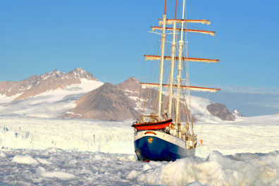 The Antigua moored in the icy waters of the Artic.