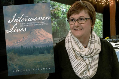 Author Candace Wellman and 'Interwoven Lives' book cover.