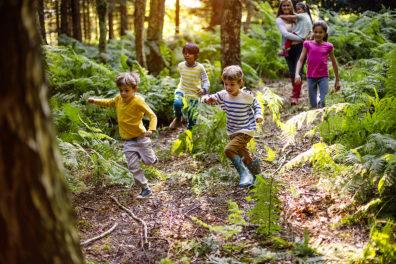 Children running through a forest.