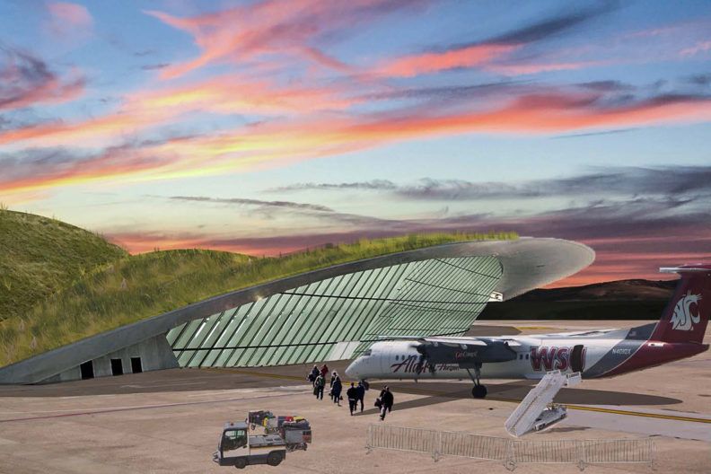 Illustration of new airport design.