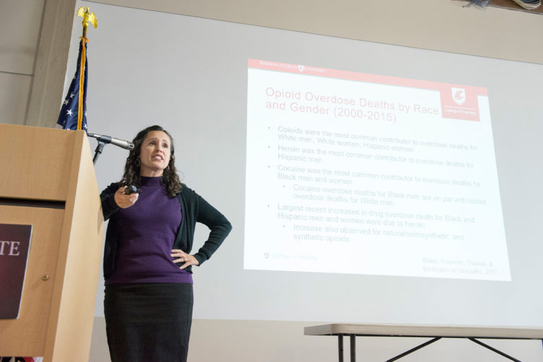 Celestina Barbosa-Leiker gave an overview of how opioid use disorder affects men and women differently at WSU Health Sciences' Inland Northwest Research Symposium on April 23.
