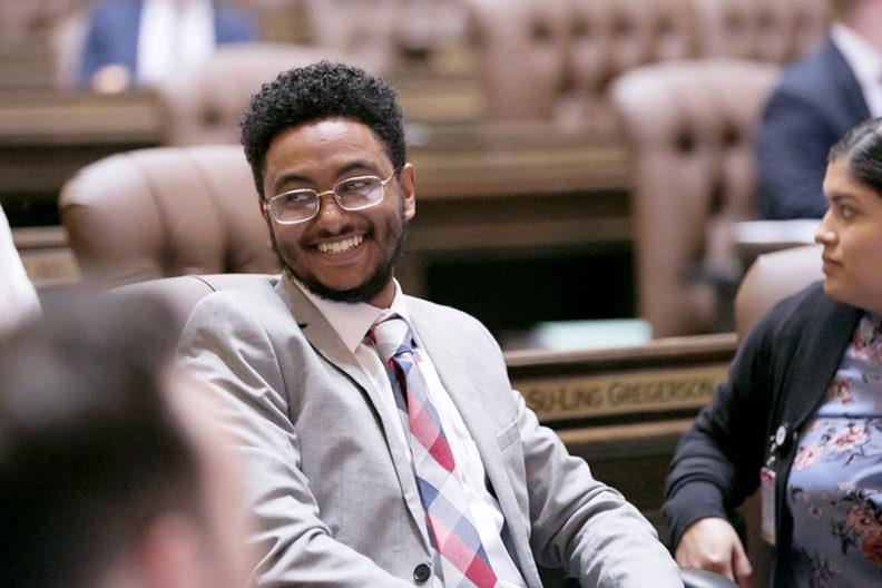 WSU senior Endalkachew Abebaw in Olympia.