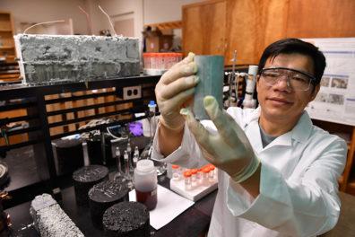 Xianming Shi in the lab