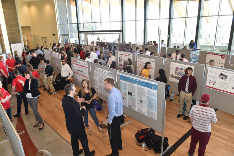 Students and visitors at the 2018 Capstone Expo.