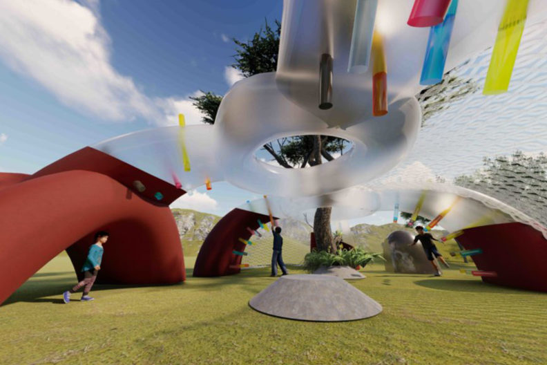 Rendering of an inflatable playground being designed by WSU students.