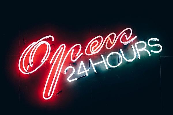 """neon sign, """"open 24 hours"""""""