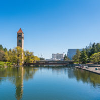 An image of Spokane's River Front Park near the city's convention center.
