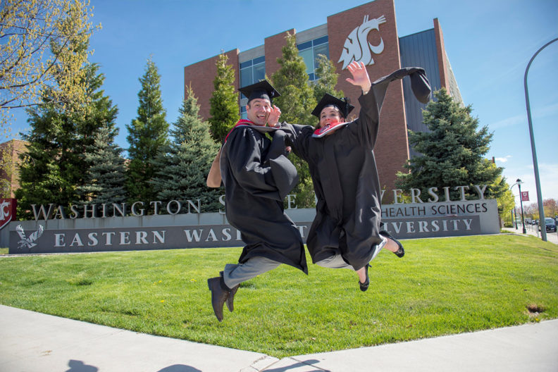 Siblings Juston Demke and Christina Homfeldt celebrate their online MBA degrees from WSU Carson College of Business in May.