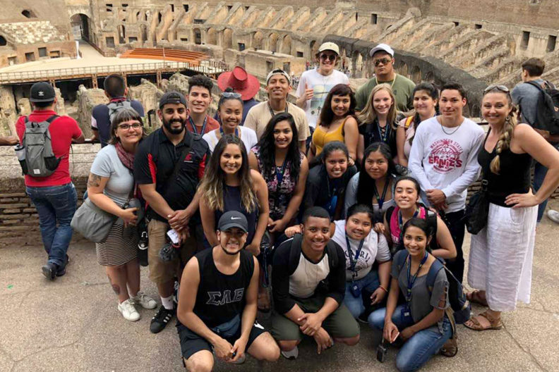Students gathered inside the Colosseum in Rome.