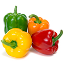 Closeup of four bell peppers.