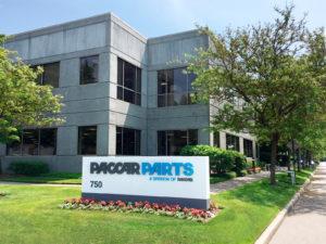 Closeup of PACCAR Parts Building in Renton, Washington.