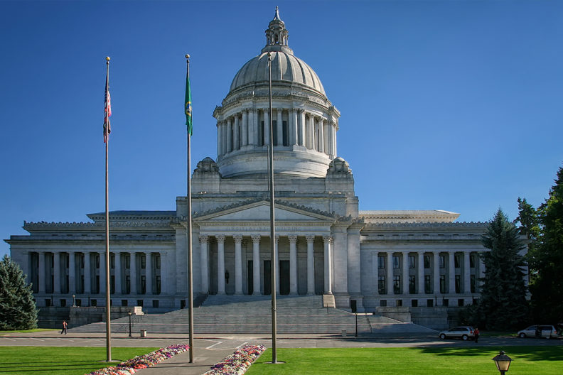 A photograph of the Washington State capitol building