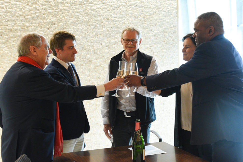 Members of the WSU community and Valdemar Family Wine celebrate a new agreement between the two entities.