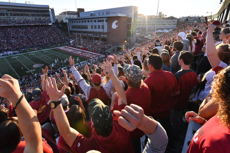 A photograph from behind the crowd at a WSU Football Game