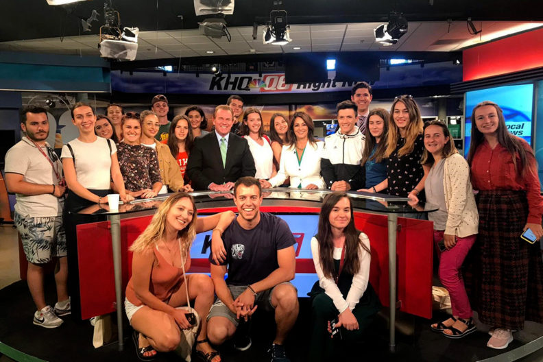 Balkan students visit the KHQ Local News television studio.