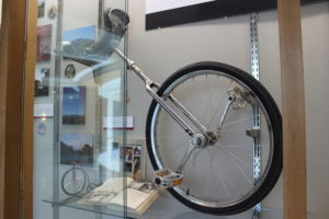 Unicycle and other memorabilia about unicycles