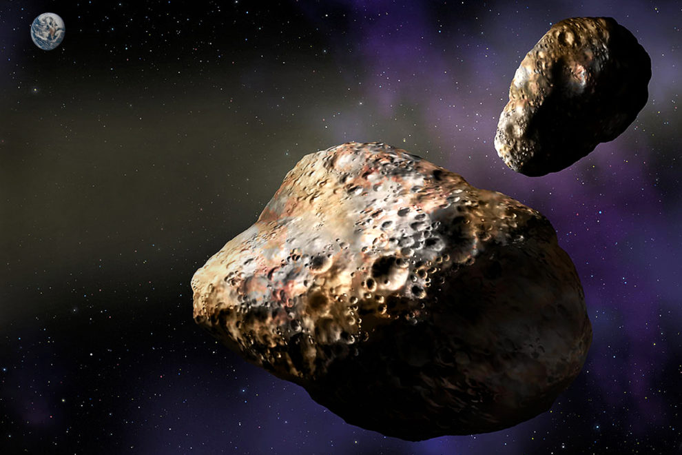 Rendering of two asteroids in outer space with Earth in the distance.