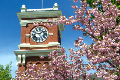 Exterior view of Bryan Clock Tower.