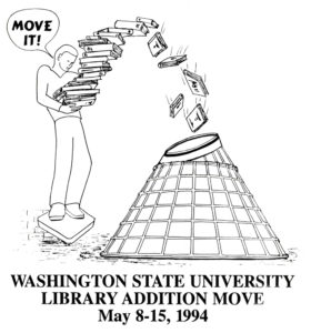 Washington State University Library Addition Move, May 8-15, 1994.