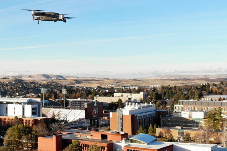 Drone hovering high above the WSU Pullman campus.