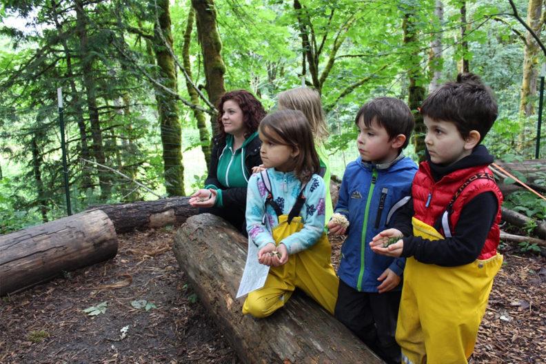 Preschoolers sitting on a log
