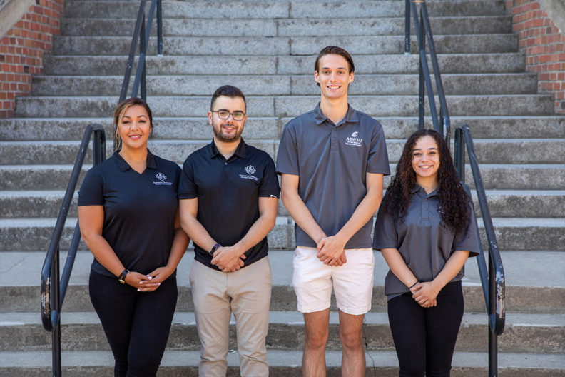 (l to r) Veneice Guillory-Lacy and Ralph Chikhany, GPSA vice president and president; Quinton Berkompas and Jhordin Prescott, ASWSU president and vice president