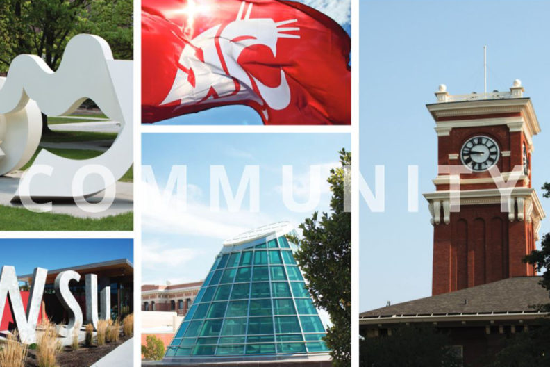 "Multiple different photographs of places at WSU with the text ""community"""