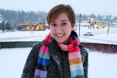 Closeup of Jacklyn Brendible on a snowy Pullman campus.