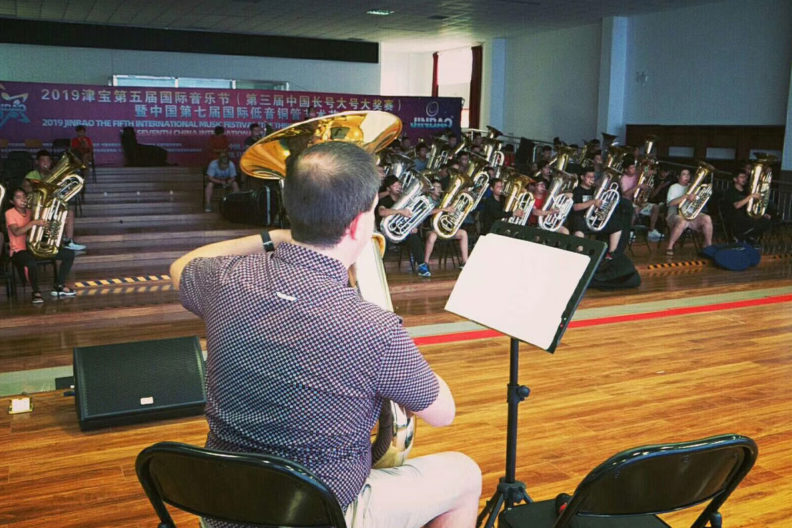 Tuba professor Chris Dickey performs.