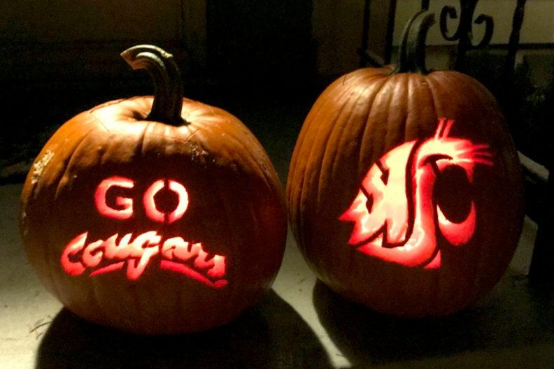 Closeup of WSU-themed jack-o-lanterns.
