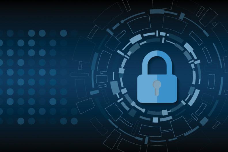Illustration of padlock promoting information security.