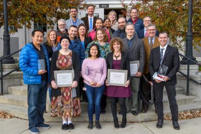 Group photo of Research Week award winners.
