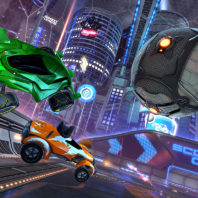 Screenshot of 'Rocket League' with cars and soccer ball in mid-air.