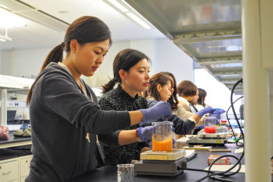 MWU students mix ingredients as part of a compounding exercise.